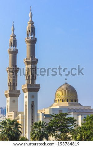 The beautiful Mosque at sunrise in Sharjah, United Arab Emirates