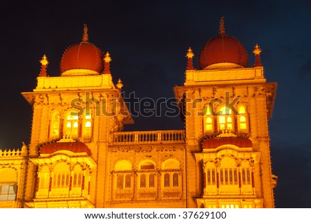 The beautiful Mysore Palace in India - lit during the Dasara Festival - stock photo