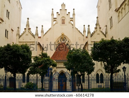 The beautiful neogothic Maiselova Synagoga in Czech's capital Prague