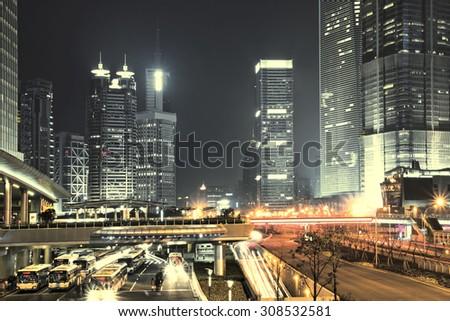 The beautiful night view of Shanghai,in China - stock photo