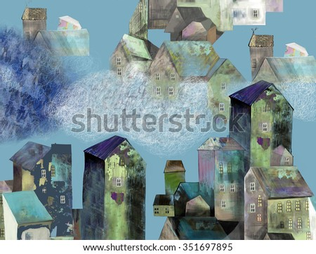 The beautiful old town and clouds on the pale blue background. - stock photo