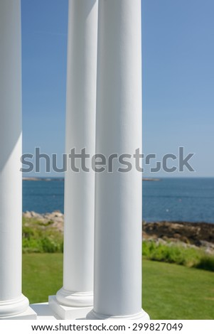 The beautiful original columns of the light keepers quarters at the Marshall Point Lighthouse - stock photo