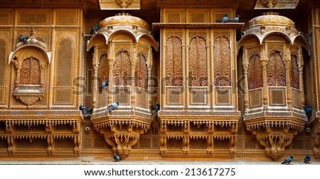 The beautiful Patwon ki Haveli palace made of golden limestone in Jaisalmer, India - stock photo