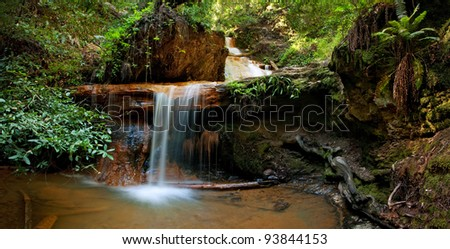 The beautiful, picturesque Silver Falls on Berry Creek Trail, in the Coastal Redwood forest in Big Basin State Park, CA - stock photo