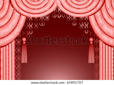 The beautiful pink curtain with claret background - stock photo