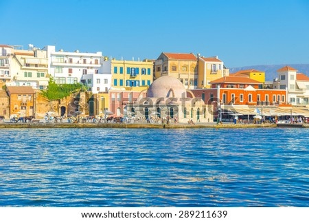 The beautiful port of Chania at Crete, Greece - stock photo