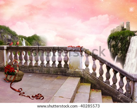 "The beautiful Poster ""In Fairy Tale"" with fantastic Sky. Ahead on a balcony there is a basket with red roses and a red tape. - stock photo"