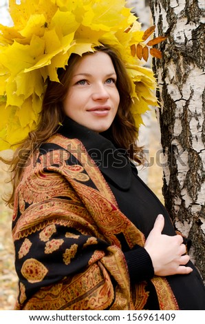 The beautiful pregnant girl in autumn park - stock photo