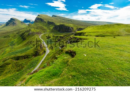The beautiful Quiraing mountains on the Isle of Skye, Scotland - stock photo