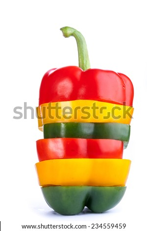 the beautiful ripe cut pepper was photographed on a white background