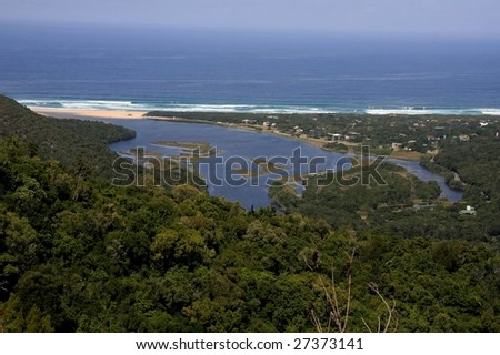The beautiful river mouth and lagoon at Natures Valley, South Africa - stock photo