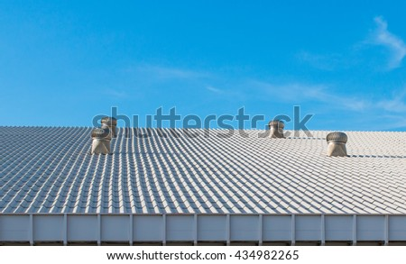 the beautiful roof of house and blue sky background