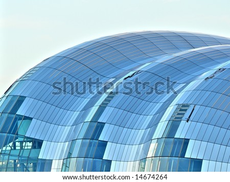 The beautiful rooftop glass structure of  the Sage concert hall in Newcastle Upon Tyne quayside - stock photo