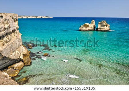 The beautiful sea of Torre dell'Orso bay in Apulia. Italy. - stock photo