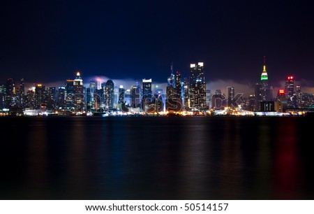 The beautiful skyline of New York city from New Jersey. - stock photo