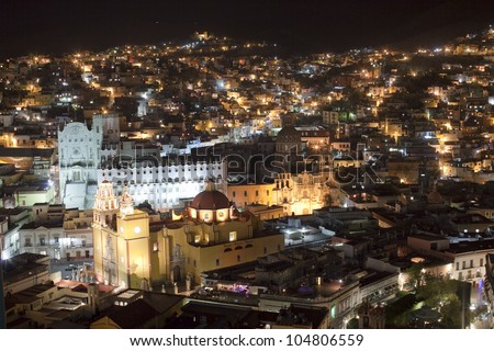 the beautiful skyline of the city of guanajuato, mexico. this city is interesting as most of the roads are underground in tunnels. - stock photo
