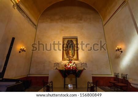 The Beautiful Smaller Chapel of the Historic Old West Spanish Mission San Jose, Founded in 1720, San Antonio, Texas, USA.  Part of a National Park System preserving historic missions. - stock photo