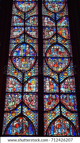 The Beautiful Stained Glass Windows Of Gothic Church Called Sainte Chapelle In Paris