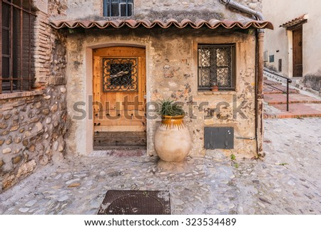 The beautiful streets and patios the southern cities of the coast of France - stock photo