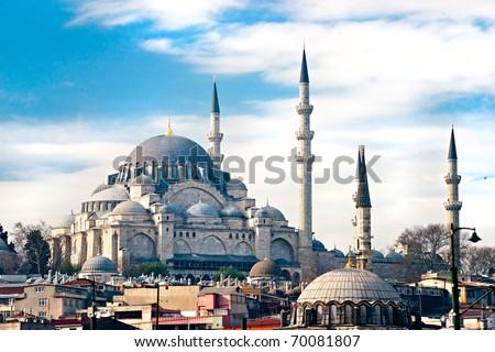 The beautiful Suleymaniye Camii  Istanbul, Turkey. - stock photo