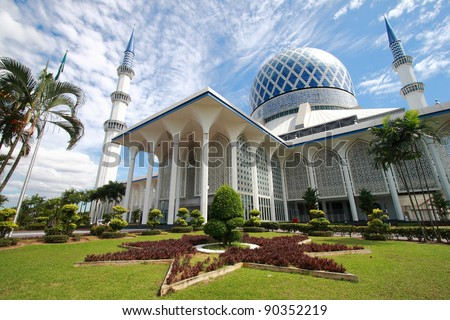 The beautiful Sultan Salahuddin Abdul Aziz Shah Mosque (also known as the Blue Mosque) located at Shah Alam, Selangor, Malaysia. - stock photo