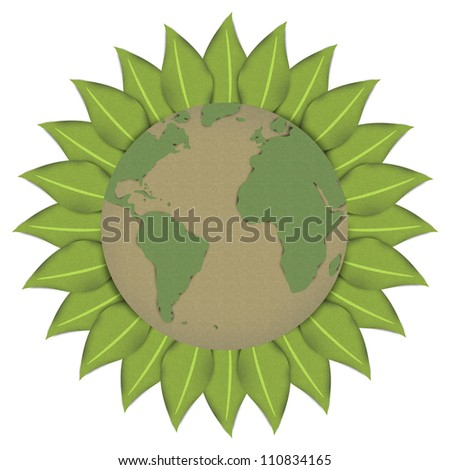 The Beautiful Sun or Sunflower With Globe Inside Made From Recycle Paper  For Stop Global Warming or Save The Earth Concept Isolated on White Background - stock photo