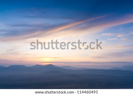 The beautiful� Sunrise� on mist, Dong Na Tham national park,� Thailand. - stock photo