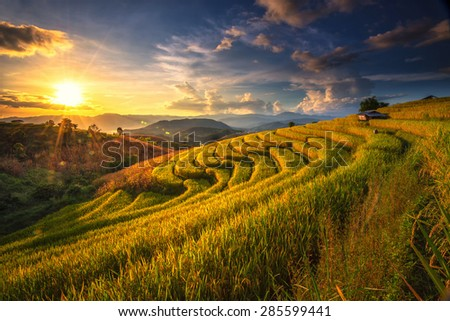 The beautiful sunset at Terraced Paddy Field in Mae-Jam Village , Chaingmai Province , T - stock photo
