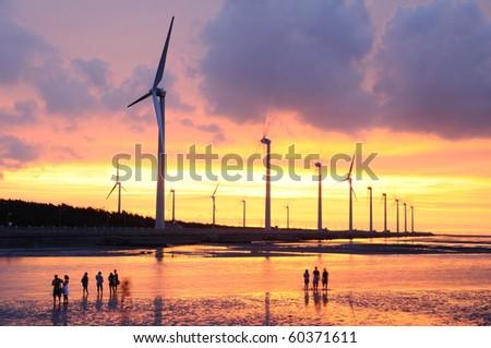the beautiful sunset at the beach - stock photo