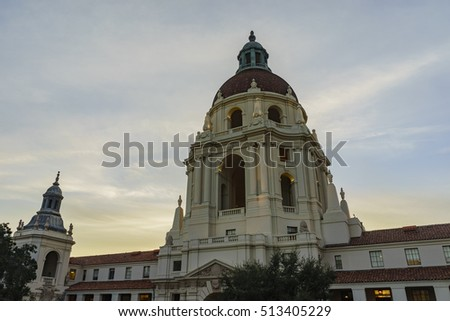 The beautiful sunset scene of Pasadena City Hall near Los Angeles, California