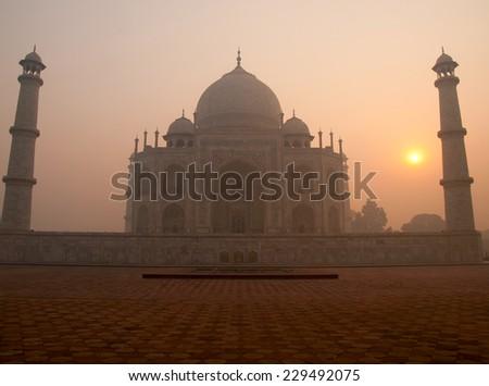 The beautiful Taj Mahal in the morning, Agra - India - stock photo