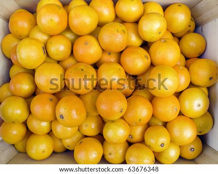 The beautiful tangerines on a counter