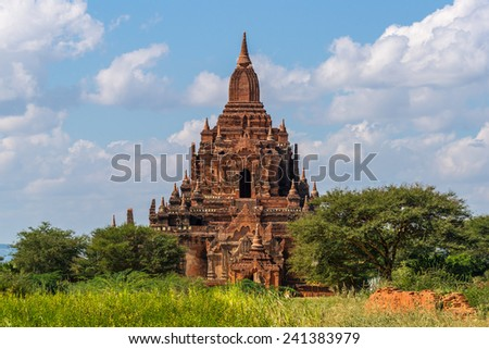 The beautiful Tayok Pye Temple, part of the Minnanthu group, in famous Bagan in Myanmar - stock photo