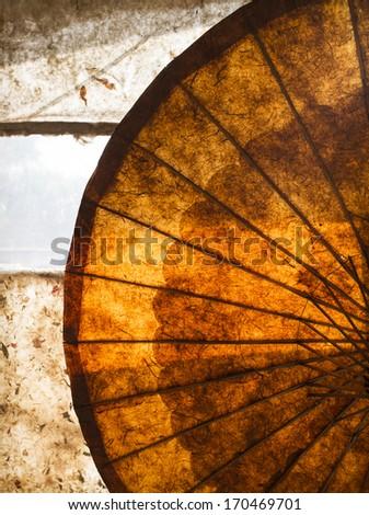 The beautiful texture of a backlit umbrella, Myanmar, Burma, Southeast Asia - stock photo