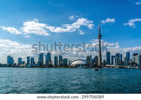 The beautiful Toronto's skyline over Lake Ontario. Urban architecture.  - stock photo