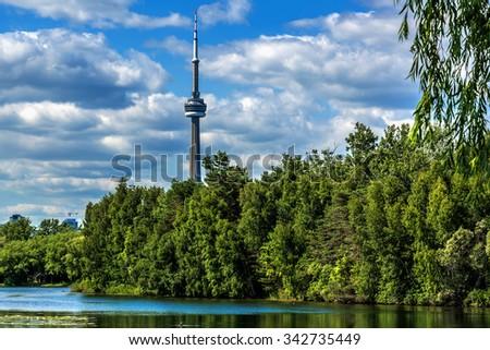 The beautiful Toronto's skyline over lake. Toronto, Ontario, Canada. - stock photo