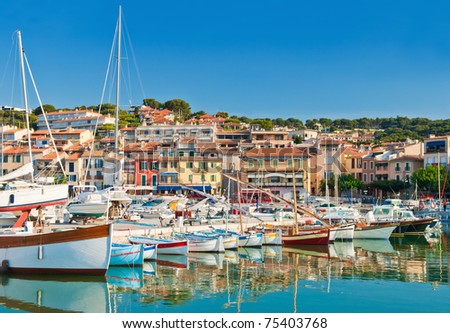 The beautiful town of Cassis in the French Riviera photographed during a clear morning - stock photo