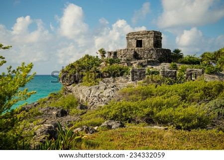 The beautiful Tulum ruins in Mexico - stock photo