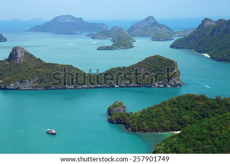 The beautiful turquoise waters of Ko Ang Thong in southern Thailand - stock photo