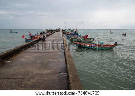 the beautiful view from the jetty and seascape at Chanthaburi, Thailand
