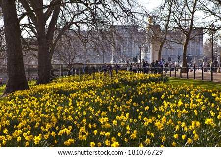 The beautiful view of Buckingham Palace from St. James's Park in Spring. - stock photo
