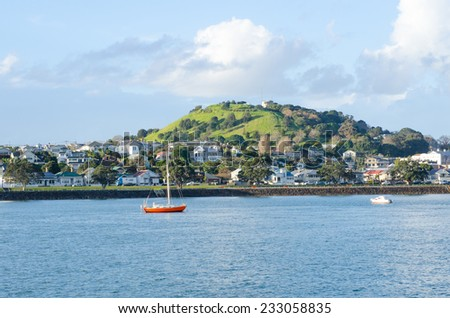 The beautiful view of Mount Victoria in Devonport, Auckland - stock photo