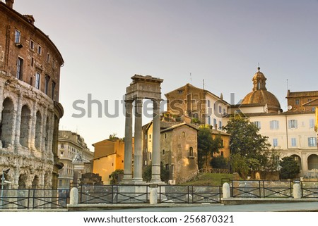 The beautiful view of the Ruins by Teatro di Marcello in Rome, Italy - stock photo