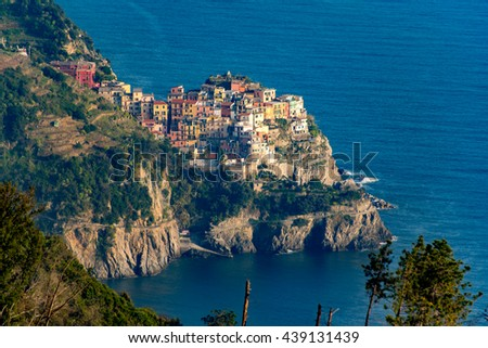 The beautiful village of Manarola in the Cinque Terre along the Mediterranean coast of Northern Italy.  This coastal village is one of five wonderful towns you must see in Italy - stock photo
