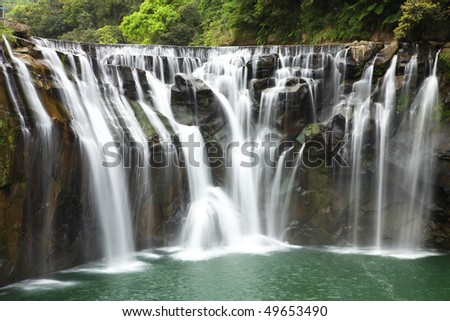 The beautiful waterfall in Taiwan - stock photo