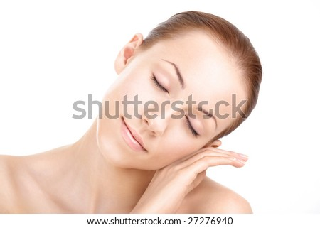 The beautiful well-groomed woman's face, isolated - stock photo