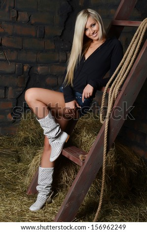 The beautiful woman in shed at ladder - stock photo