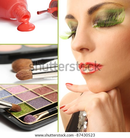 The beautiful woman with bright make-up