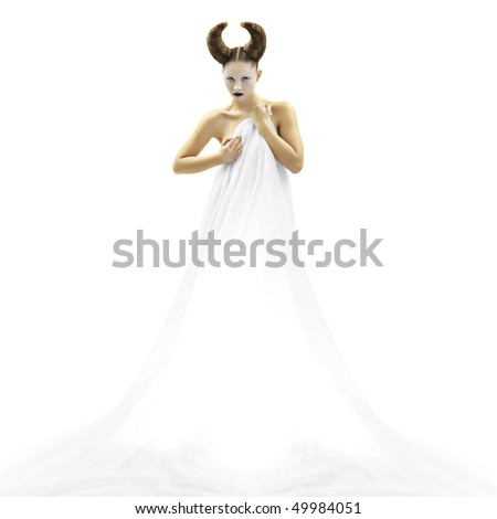 The beautiful young girl a devil an angel - stock photo