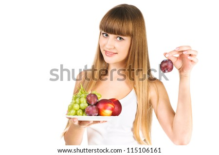 The beautiful young girl hold out some fruits isolated over white - stock photo